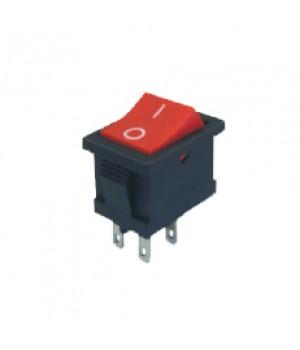 Переключатель KCD2-202/4P 2.8 красный