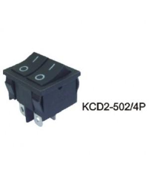 Переключатель KCD2-502/6Р черный, 2 клавиши