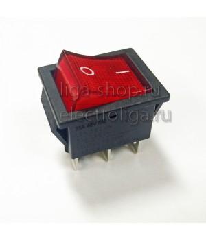 Переключатель KCD4-101/6PN 220v красный