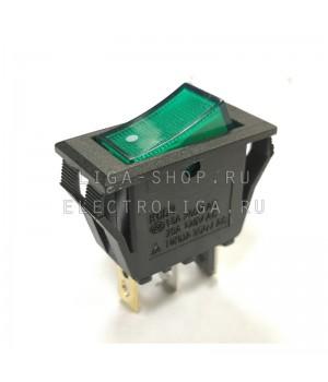 Переключатель KCD6-101/NС зеленый,белая точка