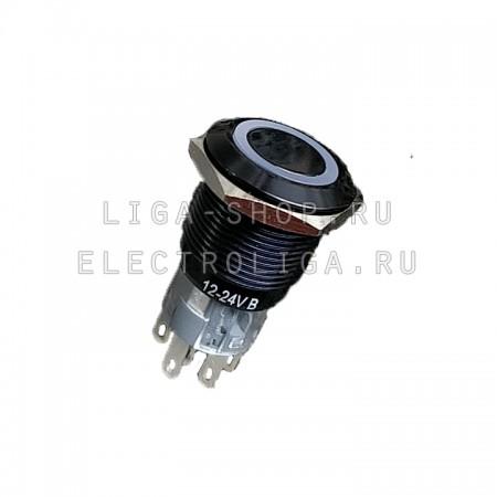 Кнопка Антивандальная A19-C1 12v NL Синий (2NO2NC Чёрный корпус)