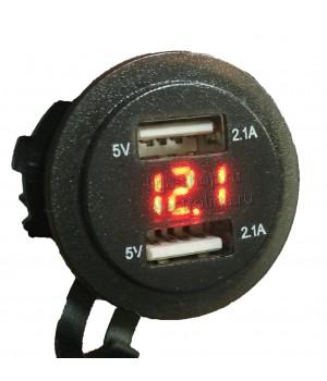 Гнездо USB авто с вольтметром, 4.2A красный
