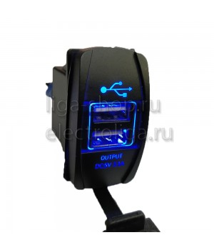 Гнездо USB авто, квадратное 3.1A синий