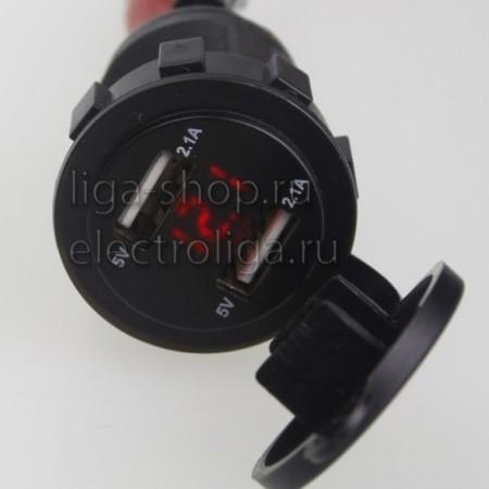 Гнездо USB автомобильное с вольтметром 2.1А, 2.1A